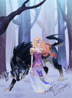 Princess and Wolf by SerenaR-art
