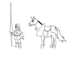 Cute Knight and his Horse by ViktorMatiesen