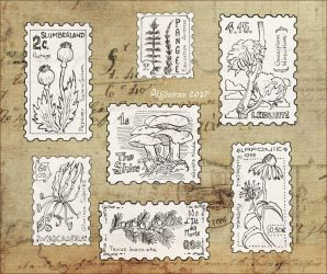 Inktober week 1 - vegetal stamps by Algesiras