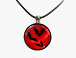 Blood Moon Metallic Holographic Glass Pendant by HoneyCatJewelry