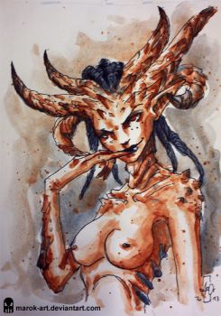 Sketch 078 Demongirl Nude by MAROK-ART