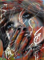 Airbrush and spraypaint on big canvas StreetSoul by Airgone