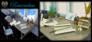 Ravenclaw's study table by luvlemontea