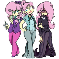 The Three Alter Egos of Fluttershy by BefishProductions
