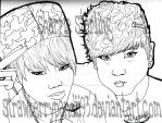 JiMin and JungGook: lineart by StrawberryPandii93