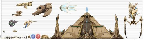 Starcraft to Scale: Protoss Chart (old) by xiaorobear