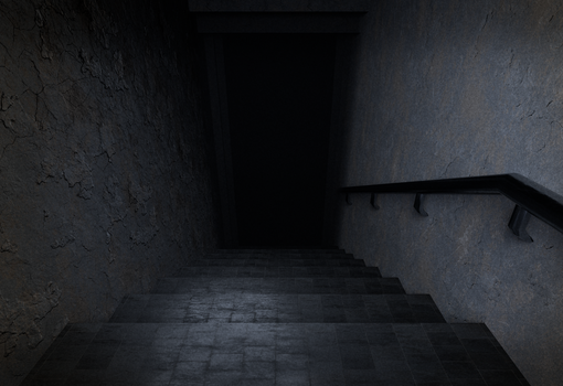 Dark creepy staircase to basement by FaderFX