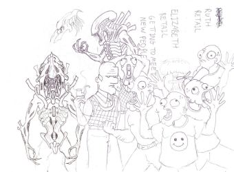 Boobeyes, Uncle Forehead and Xenomorphs by savagehenry89