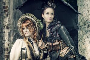 Steampunk ladies at  the Aethercircus 2014  Stade by S-T-A-R-gazer