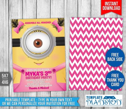 Minionsinvitations Explore Minionsinvitations On DeviantArt - Birthday invitation template minions