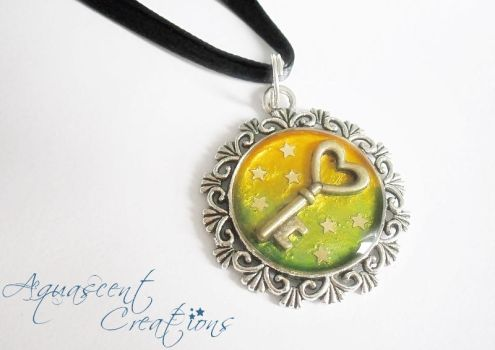 Key and Stars charm necklace by AquascentCreations