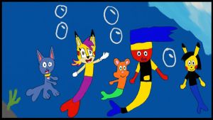 Shadow and his friends in the sea by carmenramcat