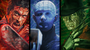 '80s Horror Triptych by HarlequiNQB