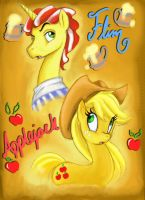 AppleJack and Flim by MoostarGazer