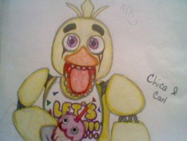 Chica and Carl the Cupcake (FNAF) by AngelOfTheWisp