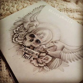 Skull, Eagle and Rose Chest Tattoo Design by kirstynoelledavies
