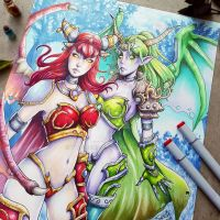 Alexstrasza and Ysera by Tofusenshi