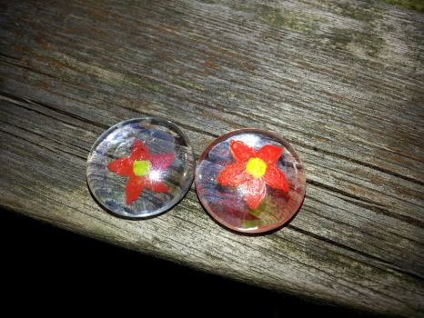Glass globs first try flowers by CharlinsArt