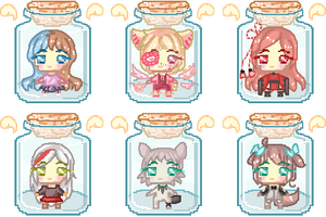 Batch #2 - OC Trapped in a Bottle..! by freezingfeathers