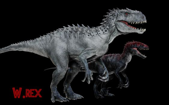 Indominus Rex and indoraptor Jurassic world by Wolfhooligans