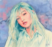 Gigi Hadid watercolor by Trunnec