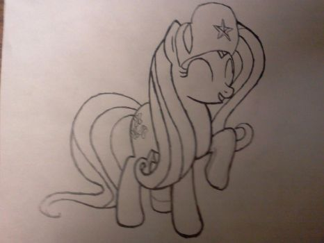 Fluttershy Drawing (Normal Hair) by derpypyro