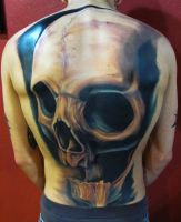 Skull back tattoo by 3598Joshuah