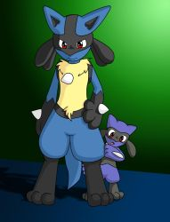 Lucario and Riolu by Coshi-Dragonite
