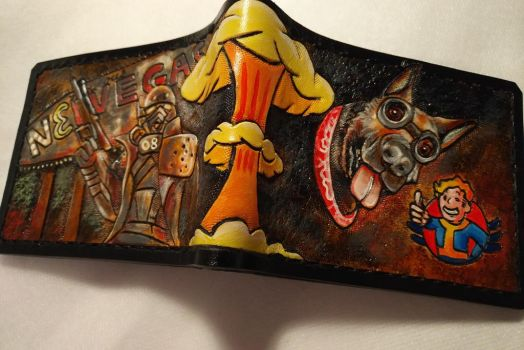 Fallout Dogmeat custom order leather wallet full by Bubblypies