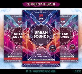 Club Music Flyer Template Urban Sounds by olgameola
