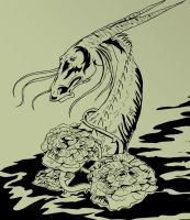 Dragon and roses by Skrilen