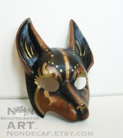 Black Brown and Gold Kitsune Fox mask by nondecaf
