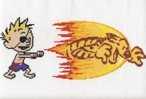 Cross Stitch - Calvin Tiger Shot by gavacho13