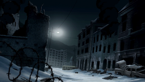 Abandoned Winter City Background by PhoenixInTheSnow