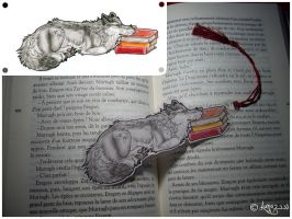 Grey wolf bookmark by Luna2330