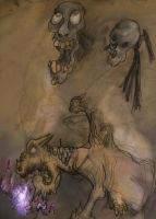 Two death heads and demon cow by DUnSTALKER