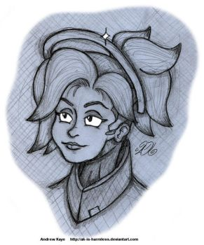 Sketch - Mercy (Overwatch) by AK-Is-Harmless