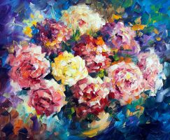 Puffy Roses by Leonid Afremov by Leonidafremov