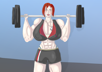 Muscular Shepard at the gym by Redocrab