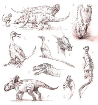 dino sketches II by Apsaravis
