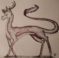 Dragon Deer full body by wolf-karpova