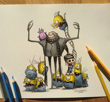 Creepyfied minions drawing by AtomiccircuS