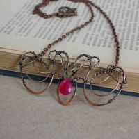 copper necklace with ruby bead by WhiteSquaw