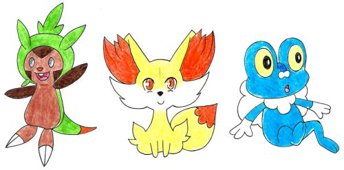 Kalos Starters by Hitomi-chan666