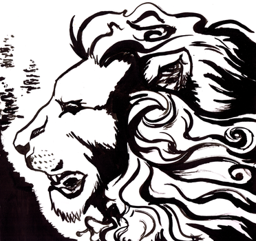 Inktober #3 - Lion by Roqi