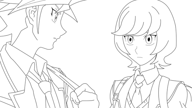 Yusaku and Aoi 1 Lineart by BlueYusei