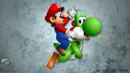 3D Vector Art - Mario and Yoshi by JCobes