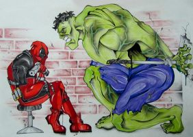 DeadpooL Vs. Hulk by PAAyAAM