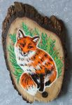 Sassy Fox - Wood Slice Acrylic Painting by devilguineapig