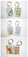 Pokemon Starter Keychains by pookat